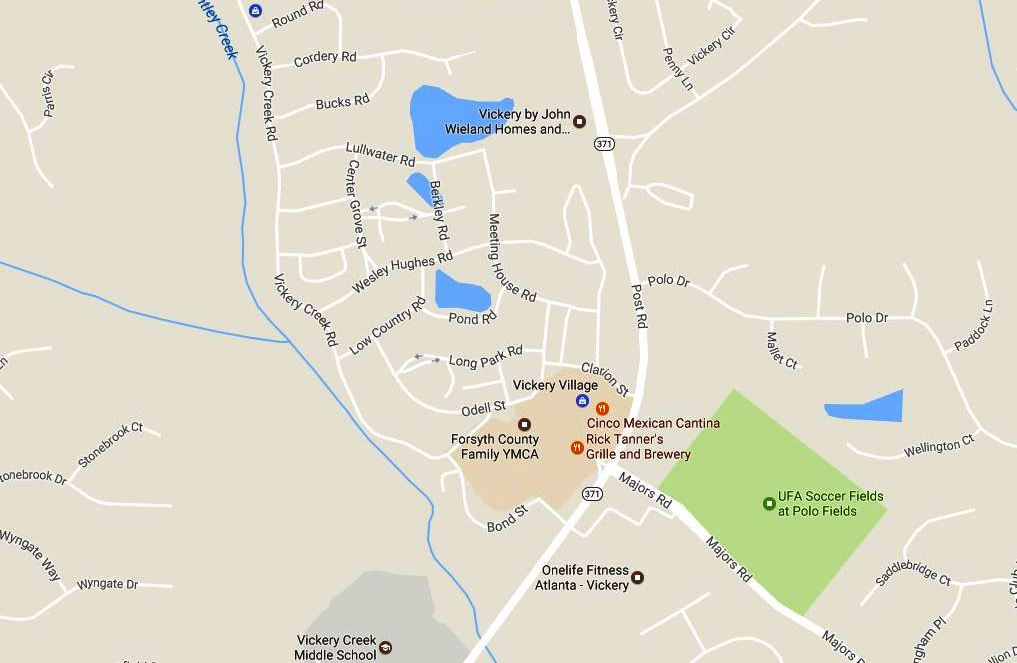 Cumming GA Map Vickery And Vickery Village Location